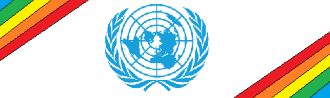UN logo with rainbow
