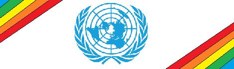 UN logo with rainbow