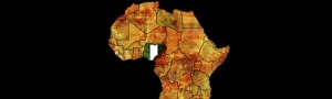 Nigeria Flag on Map