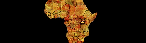 Uganda Flag on Map