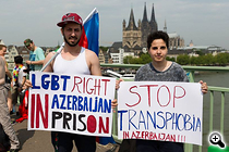 Activists protest LGBT rights violations in Azerbaijan during a 2015 rally in Germany. At least 100 LGBT people have reportedly been arrested in a wave of police raids in Azerbaijan since September 15. (Photo: Nefes LGBT Azerbaijan Alliance)